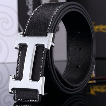 Hermes Trendy Joker Classic H Letter Buckle Smooth Buckle Belt Silver