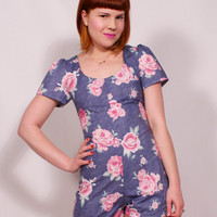 Denim and Roses Playsuit MADE TO ORDER