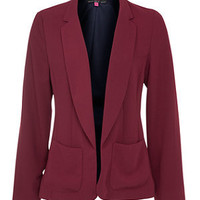 Red Crepe Open Front Blazer