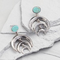 Turquoise and Silver Crescents Stud Earrings