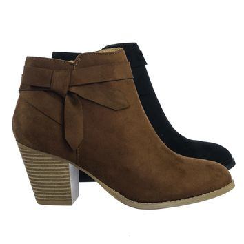Arden Chunky Stack Block Heel Ankle Bootie w Bow