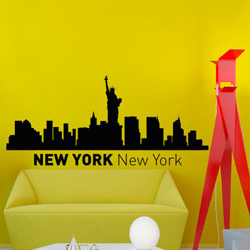 New York Skyline City Silhouette Wall Vinyl Decal Sticker Home Decor Art Mural Z493