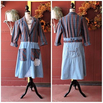 Denim duster  /  long duster coat / upcycled denim jacket / boho restyled long jean coat size S / M