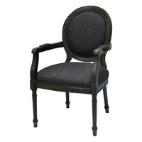 Addam Rustic Wood and Gray Linen Chair