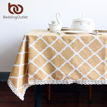 BeddingOutlet Yellow Diamond Pattern Tablecloth Cotton and Linen with Lacy Dinner Table Cloth Macrame Decoration Table Cover
