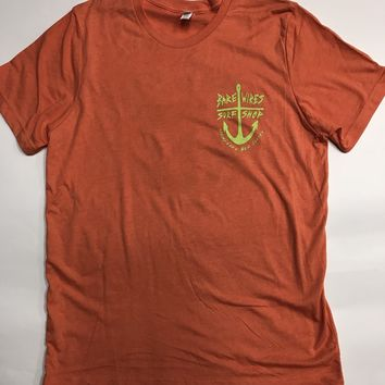 Bare Wires Surf Shop Tee-Htr Orange