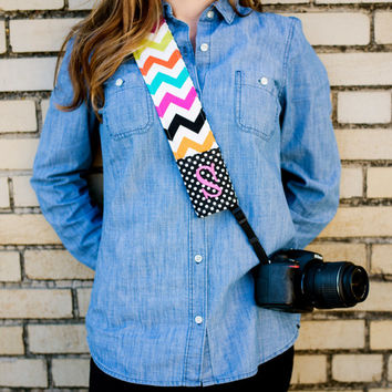 Monogrammed chevron camera strap cover (Multi/black)