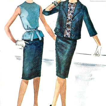 1960s Junior Three-Piece Suit  Vintage Sewing Pattern, Mad Men, Office Fashion, Sexy, McCall's 5936 Bust 31.5""
