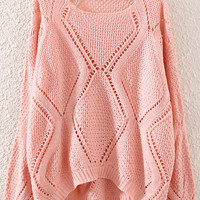 Pink Cut-Outs Dipped Hem Sweater