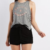 STRIPED GRAPHIC TANK TOP