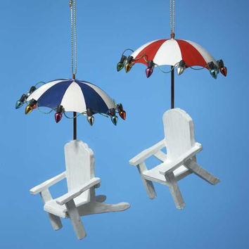 12 Christmas Ornaments - Tropical Beach Lounge Chairs