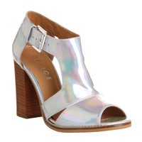 Office Jasper Cutout Shoe Boot Holographic Leather - High Heels