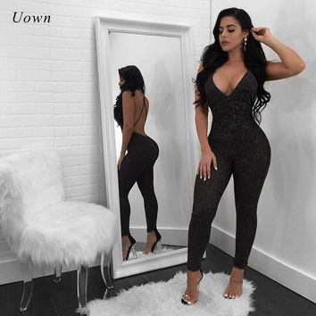 b71fc112c1 Backless Sexy Jumpsuits for Women 2018 Fashion Glitter Clubwear Night Out  Party Bodycon Jumpsuit Long Rompers