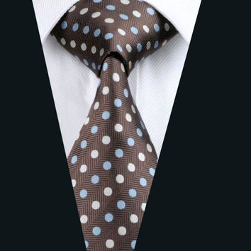 2016 Men`s Tie 100% Silk Brown Polka Dot Jacquard Woven Necktie Gravata For Formal Wedding Party Business Free Postage LD-911