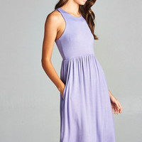 Solid Lavender Racer Back Midi Dress