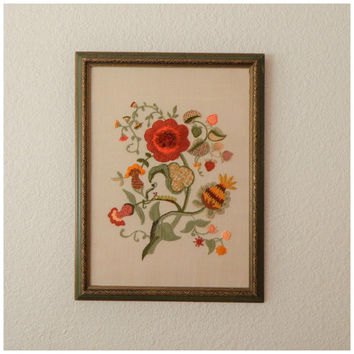 Vintage 70s Orange Green Yarn Embroidered Floral Art Wall Hanging Hippie Picture