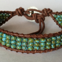 Turquoise Blue Leather Wrap Bracelet Chan by Jennasjewelrydesign