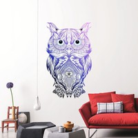 MADE IN THE USA - New Wall Decal Owl Vinyl Sticker Colorful Multicolored Owl Decal Night Bird Full Color Removable Design For Bedroom DD122