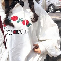 GUCCI x Champion Women Fashion Embroidery Rose Flower Top Sweater Pullover Hoodie