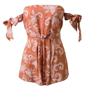 Orange Brown Off Shoulder Paisley Tie Sleeve Romper