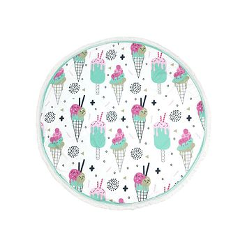Ice Cream Cone Print Round Beach Towel