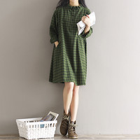 Plaid Cotton Dress 2017 Spring New Women Vintage Literary Long Sleeve Single-breasted Ruffles Plus Size Shirt Dress Mori Girl