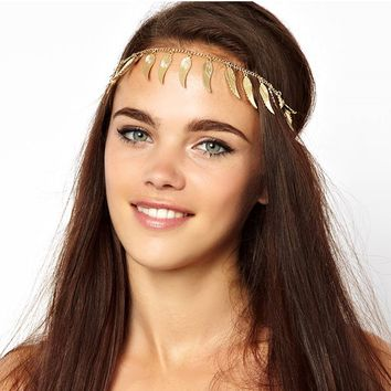 Gold Feather Wing Elegant Hair Chain Hair Accessories Jewelry