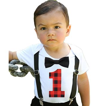 Baby Boy Lumberjack First Birthday Party Outfit Buffalo Plaid One
