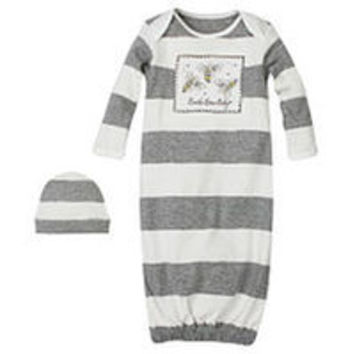 Burt's Bees Baby Boys Grey Striped Organic Bee Patch Gown with Matching Hat - One Size