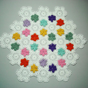 Crochet Doily, Hand Crocheted White Doily with Colorful Flowers, Floral Doily, Springtime Doily, Pentagon Shaped Doily