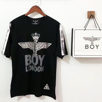 BOY LONDON men and women couple models crown gilded diamond eagle short-sleeved T-shirt F-AA-XDD black+silver logo