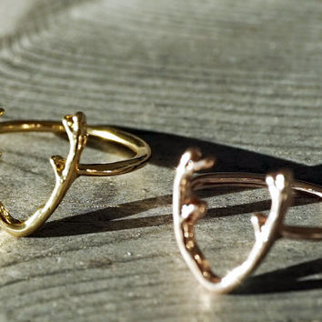 Gold and rose gold dainty tiny antlers ring (RI00009)