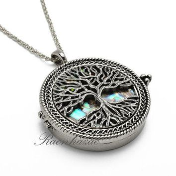 CREYONRC Silver 5X Magnifying Glass Mother of Pearl Tree of Life Pendant 31' Necklace 04s