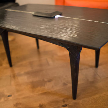 OOAK Hand Crafted Art Black Carved Coffee Table by Aaron S. Dye Asian Mid Century Inspired Lighted