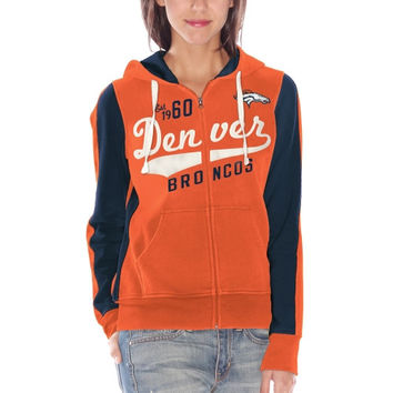 Denver Broncos Womens Point After Full Zip Hoodie - Orange