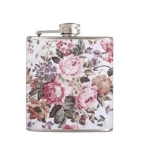 Old roses vintage fabric flask