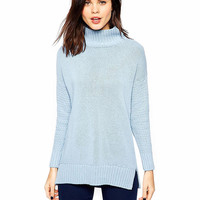 Turtleneck Long Sleeves Ribbed  Knitwear With Side Slits