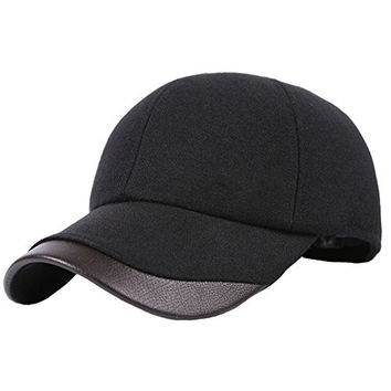 Mens Cotton Padded Wool Pu Fleece Lined Peaked Hat Cap Earmuffs Ear Flap Warmer