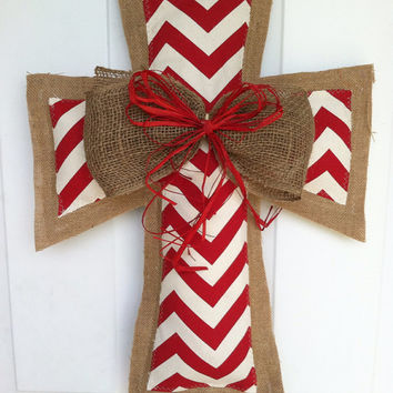 Large Red Burlap and Chevron Cross with bow- FREE Shipping this week