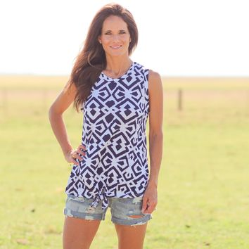 Pearland Geometric Tie Knot Sleeveless Top in Navy