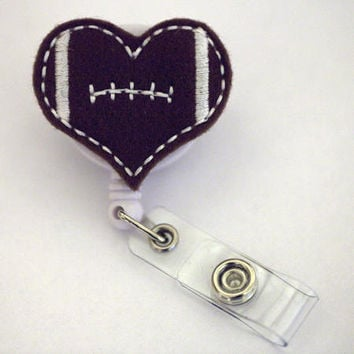 Love Football - Name Badge Holder - Nurses Badge Holder - Cute Badge Reels - Unique Retractable ID Badge Holder - Felt Badge - RN Badge Reel