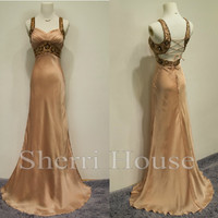 Sequins V-Neck Empired Lace-up Long Mermaid Bridesmaid Celebrity dress ,Floor Length Chiffon Evening Party Prom Dress Homecoming Dress