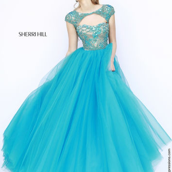 Sherri Hill 11199 Cap Sleeve Ball Gown Sale Prom Dress