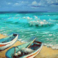 "Caribbean Noon  — PALETTE KNIFE Oil Painting On Canvas By by Dmitry Spiros. Size: 24"" x 32""  (60 x 80 cm)"