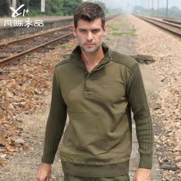 men casual Military uniform sweater thick winter sweater bottoming shirt loose uniformed cardigan jacket