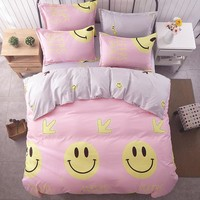 Smile / bedding set kids Cotton bed sheet +duvet cover + pillowcases full  queen / super king size bedding for girls