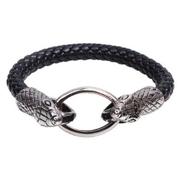 Silver Metal Snake Head Circle Clasp Charm Pendant on Handmade Leather Bracelet