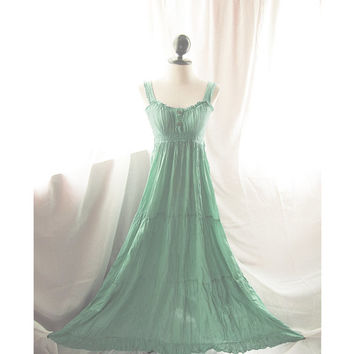 Downton Abbey Jane Austen Elven LOTR Medieval Cotton Nostalgia Muted Kelly Green French Country Bohemian Summer Shabby Chic Maxi Long Dress