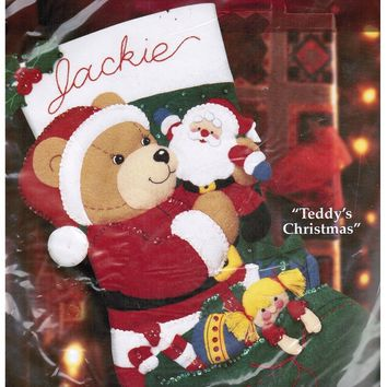 Bucilla Christmas Felt Stocking Kits  'Teddy's Christmas'
