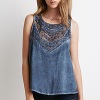 Crochet-Paneled Embroidery Top